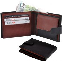 Real Leather 2 Tone Wallet in Black/Burgundy